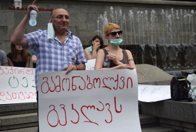 Environemntal activists protesting in Tbilisi
